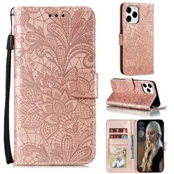 Intricate Embossing Lace Jasmine Flower Leather Wallet Case for iPhone 12 Pro Max (6.7 inch) - Rose Gold