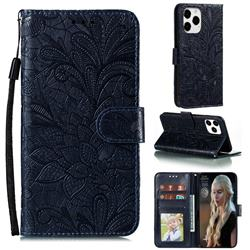 Intricate Embossing Lace Jasmine Flower Leather Wallet Case for iPhone 12 Pro Max (6.7 inch) - Dark Blue