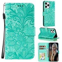 Intricate Embossing Lace Jasmine Flower Leather Wallet Case for iPhone 12 Pro Max (6.7 inch) - Green