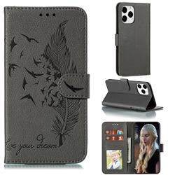 Intricate Embossing Lychee Feather Bird Leather Wallet Case for iPhone 12 Pro Max (6.7 inch) - Gray
