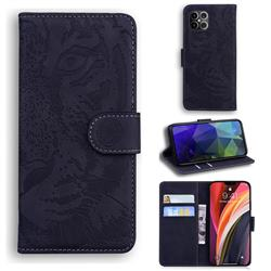 Intricate Embossing Tiger Face Leather Wallet Case for iPhone 12 Pro Max (6.7 inch) - Black