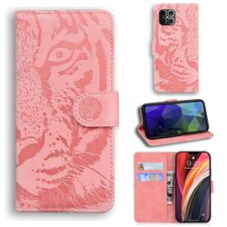 Intricate Embossing Tiger Face Leather Wallet Case for iPhone 12 Pro Max (6.7 inch) - Pink