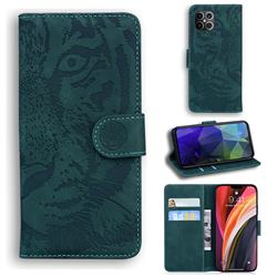 Intricate Embossing Tiger Face Leather Wallet Case for iPhone 12 Pro Max (6.7 inch) - Green