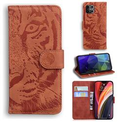 Intricate Embossing Tiger Face Leather Wallet Case for iPhone 12 Pro Max (6.7 inch) - Brown