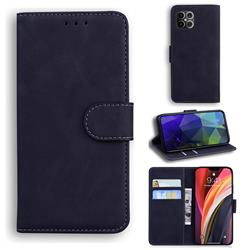 Retro Classic Skin Feel Leather Wallet Phone Case for iPhone 12 Pro Max (6.7 inch) - Black