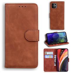 Retro Classic Skin Feel Leather Wallet Phone Case for iPhone 12 Pro Max (6.7 inch) - Brown