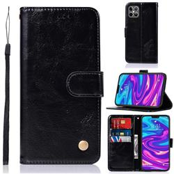 Luxury Retro Leather Wallet Case for iPhone 12 Pro Max (6.7 inch) - Black