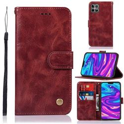 Luxury Retro Leather Wallet Case for iPhone 12 Pro Max (6.7 inch) - Wine Red