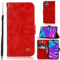Luxury Retro Leather Wallet Case for iPhone 12 Pro Max (6.7 inch) - Red