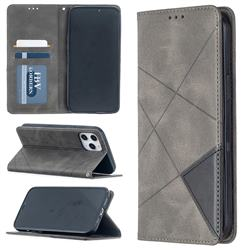 Prismatic Slim Magnetic Sucking Stitching Wallet Flip Cover for iPhone 12 Pro Max (6.7 inch) - Gray