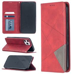 Prismatic Slim Magnetic Sucking Stitching Wallet Flip Cover for iPhone 12 Pro Max (6.7 inch) - Red