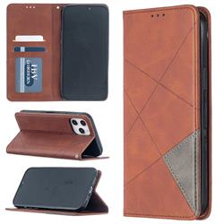 Prismatic Slim Magnetic Sucking Stitching Wallet Flip Cover for iPhone 12 Pro Max (6.7 inch) - Brown