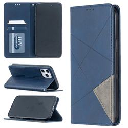 Prismatic Slim Magnetic Sucking Stitching Wallet Flip Cover for iPhone 12 Pro Max (6.7 inch) - Blue