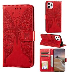 Intricate Embossing Rose Flower Butterfly Leather Wallet Case for iPhone 12 Pro Max (6.7 inch) - Red