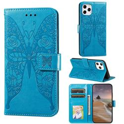 Intricate Embossing Rose Flower Butterfly Leather Wallet Case for iPhone 12 Pro Max (6.7 inch) - Blue