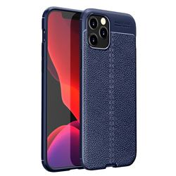 Luxury Auto Focus Litchi Texture Silicone TPU Back Cover for iPhone 12 Pro Max (6.7 inch) - Dark Blue