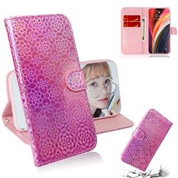 Laser Circle Shining Leather Wallet Phone Case for iPhone 12 Pro Max (6.7 inch) - Pink