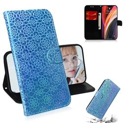 Laser Circle Shining Leather Wallet Phone Case for iPhone 12 Pro Max (6.7 inch) - Blue