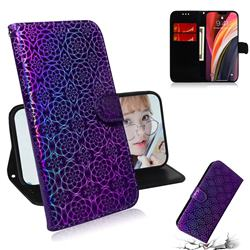 Laser Circle Shining Leather Wallet Phone Case for iPhone 12 Pro Max (6.7 inch) - Purple