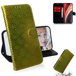 Laser Circle Shining Leather Wallet Phone Case for iPhone 12 Pro Max (6.7 inch) - Golden