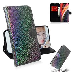 Laser Circle Shining Leather Wallet Phone Case for iPhone 12 Pro Max (6.7 inch) - Silver