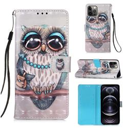 Sweet Gray Owl 3D Painted Leather Wallet Case for iPhone 12 Pro Max (6.7 inch)