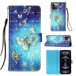 Gold Butterfly 3D Painted Leather Wallet Case for iPhone 12 Pro Max (6.7 inch)