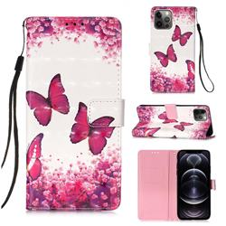 Rose Butterfly 3D Painted Leather Wallet Case for iPhone 12 Pro Max (6.7 inch)