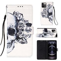 Skull Flower 3D Painted Leather Wallet Case for iPhone 12 Pro Max (6.7 inch)
