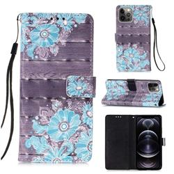 Blue Flower 3D Painted Leather Wallet Case for iPhone 12 Pro Max (6.7 inch)