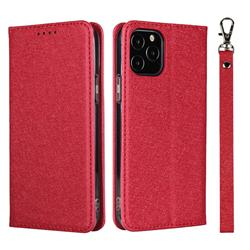 Ultra Slim Magnetic Automatic Suction Silk Lanyard Leather Flip Cover for iPhone 12 Pro Max (6.7 inch) - Red