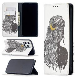 Girl with Long Hair Slim Magnetic Attraction Wallet Flip Cover for iPhone 12 Pro Max (6.7 inch)