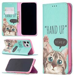 Hand Up Cat Slim Magnetic Attraction Wallet Flip Cover for iPhone 12 Pro Max (6.7 inch)