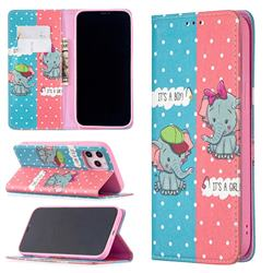 Elephant Boy and Girl Slim Magnetic Attraction Wallet Flip Cover for iPhone 12 Pro Max (6.7 inch)