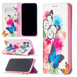 Flying Butterflies Slim Magnetic Attraction Wallet Flip Cover for iPhone 12 Pro Max (6.7 inch)