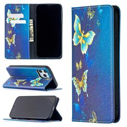 Gold Butterfly Slim Magnetic Attraction Wallet Flip Cover for iPhone 12 Pro Max (6.7 inch)