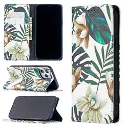Flower Leaf Slim Magnetic Attraction Wallet Flip Cover for iPhone 12 Pro Max (6.7 inch)