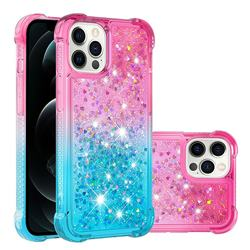 Rainbow Gradient Liquid Glitter Quicksand Sequins Phone Case for iPhone 12 Pro Max (6.7 inch) - Pink Blue