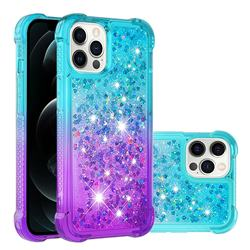 Rainbow Gradient Liquid Glitter Quicksand Sequins Phone Case for iPhone 12 Pro Max (6.7 inch) - Blue Purple