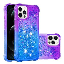 Rainbow Gradient Liquid Glitter Quicksand Sequins Phone Case for iPhone 12 Pro Max (6.7 inch) - Purple Blue