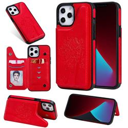 Luxury Tree and Cat Multifunction Magnetic Card Slots Stand Leather Phone Back Cover for iPhone 12 Pro Max (6.7 inch) - Red