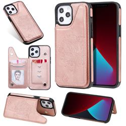 Luxury Tree and Cat Multifunction Magnetic Card Slots Stand Leather Phone Back Cover for iPhone 12 Pro Max (6.7 inch) - Rose Gold