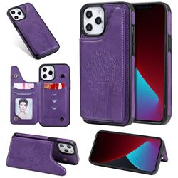 Luxury Tree and Cat Multifunction Magnetic Card Slots Stand Leather Phone Back Cover for iPhone 12 Pro Max (6.7 inch) - Purple