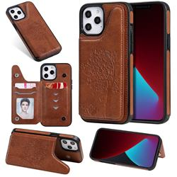 Luxury Tree and Cat Multifunction Magnetic Card Slots Stand Leather Phone Back Cover for iPhone 12 Pro Max (6.7 inch) - Brown