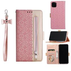 Luxury Lace Zipper Stitching Leather Phone Wallet Case for iPhone 12 Pro Max (6.7 inch) - Pink