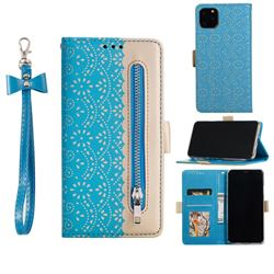 Luxury Lace Zipper Stitching Leather Phone Wallet Case for iPhone 12 Pro Max (6.7 inch) - Blue