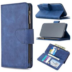 Binfen Color BF02 Sensory Buckle Zipper Multifunction Leather Phone Wallet for iPhone 12 Pro Max (6.7 inch) - Blue