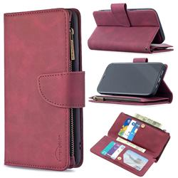 Binfen Color BF02 Sensory Buckle Zipper Multifunction Leather Phone Wallet for iPhone 12 Pro Max (6.7 inch) - Red Wine
