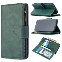 Binfen Color BF02 Sensory Buckle Zipper Multifunction Leather Phone Wallet for iPhone 12 Pro Max (6.7 inch) - Dark Green