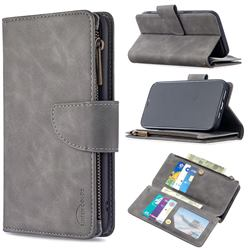 Binfen Color BF02 Sensory Buckle Zipper Multifunction Leather Phone Wallet for iPhone 12 Pro Max (6.7 inch) - Gray